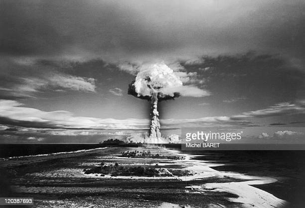 A nuclear explosion at Mururoa in France on October 30 1971 French Polynesia Tuamotu archipelago attol of Mururoa From 1966 to 1996 it is a basis of...
