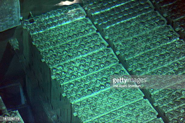 Nuclear fuel assemblies are stored in a pool at the No 4 reactor building at the Fukushima Daiichi Nuclear Power Plant on November 6 2013 in Okuma...