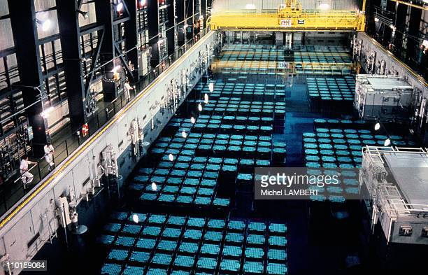 Nuclear fuel storage pool in La Hague, France in February, 1995.