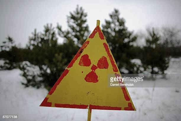 Nuclear hazard signs are seen in the village of Kopachi on January 29 2006 in Chernobyl Ukraine Kopachi is one of the many villages close to the...