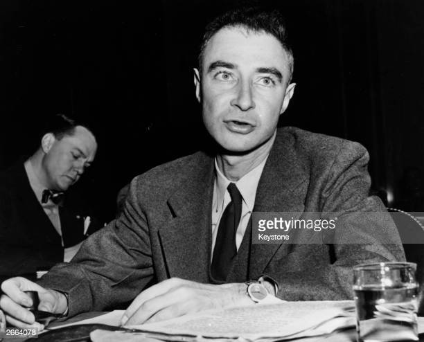 US nuclear physicist Julius Robert Oppenheimer director of the Los Alamos atomic laboratory testifying before the Special Senate Committee on Atomic...