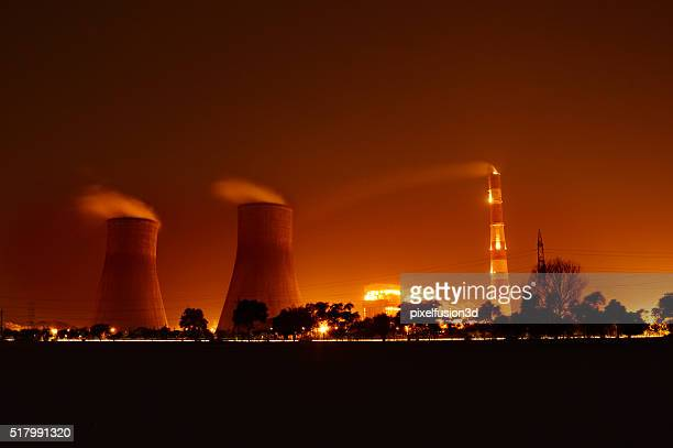 Nuclear Plant At Night