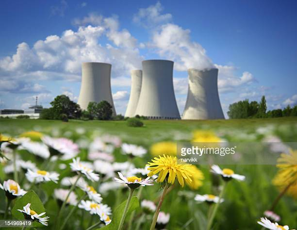 nuclear power plant and flowering meadow - atomic imagery stock pictures, royalty-free photos & images