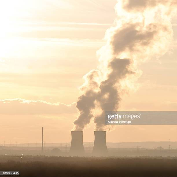 Nuclear power plant in the mist