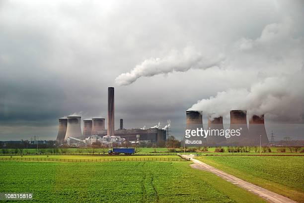 Nuclear power plant with cloudy sky