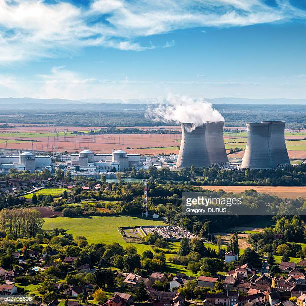 nuclear power station aerial view in countryside landscape - next to stock pictures, royalty-free photos & images
