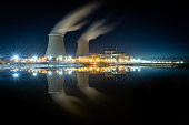 Nuclear power station during a sunset