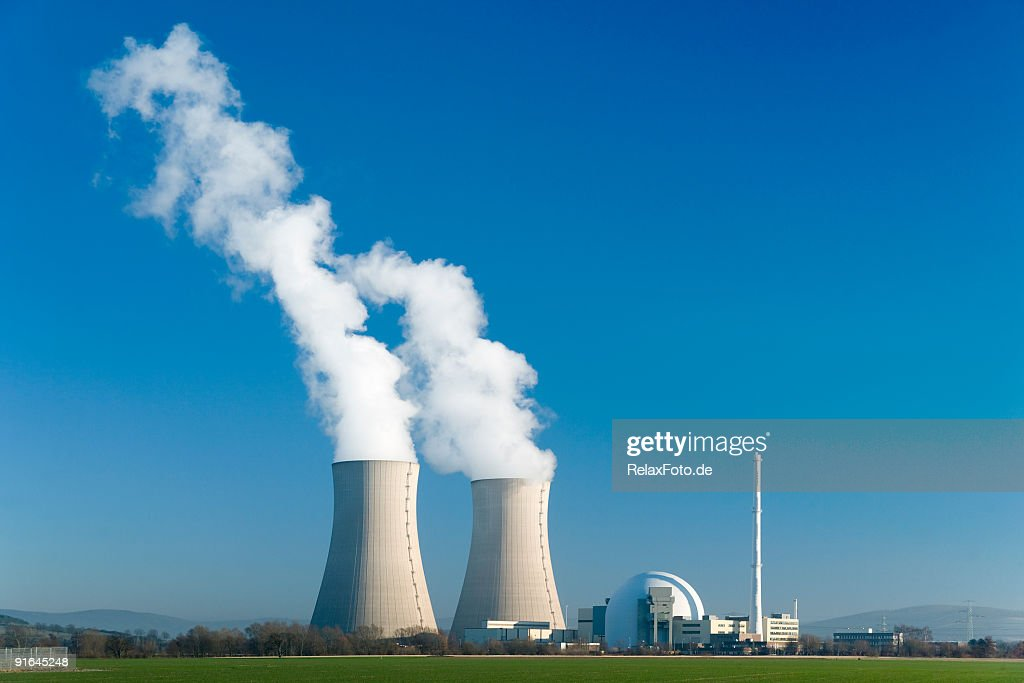 Nuclear power station Grohnde with blue sky : Stock Photo