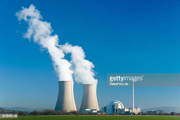 nuclear power station grohnde with blue sky - atomic imagery stock pictures, royalty-free photos & images