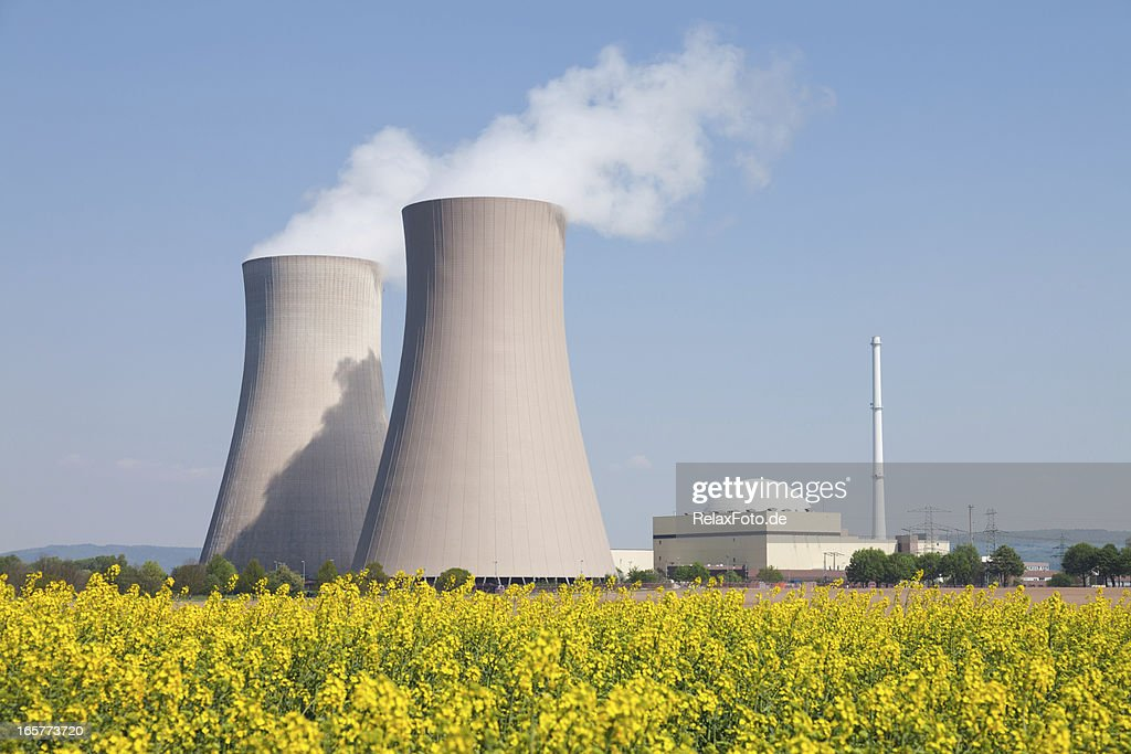 Nuclear power station with steaming cooling towers and canola field : Stock Photo