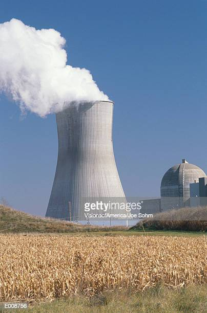 Nuclear reactor with farmland in foreground