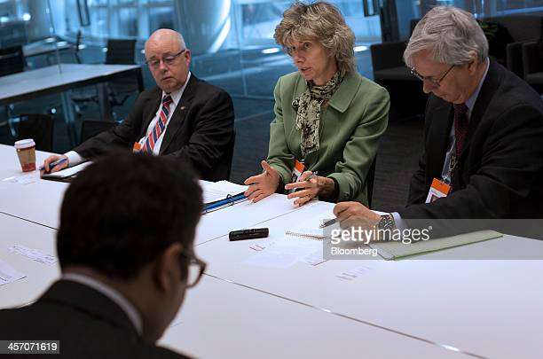 Nuclear Regulatory Commission Chairman Allison Macfarlane second right speaks during an interview in New York US on Monday Dec 16 2013 There's only...