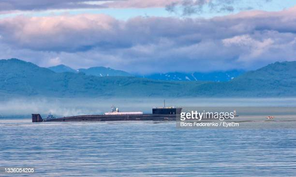 nuclear submarine on parade - submarine stock pictures, royalty-free photos & images