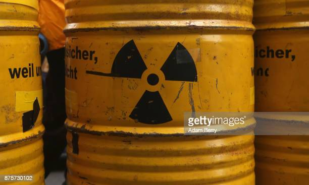 Nuclear symbols are seen during a demonstration against nuclear weapons on November 18 2017 in Berlin Germany About 700 demonstrators protested...