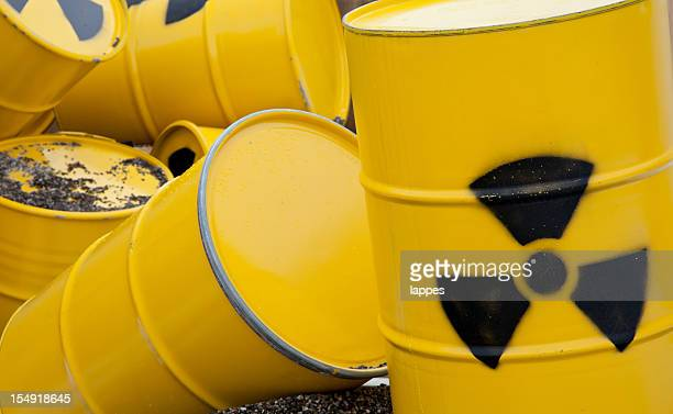 nuclear waste barrel - atomic imagery stock pictures, royalty-free photos & images