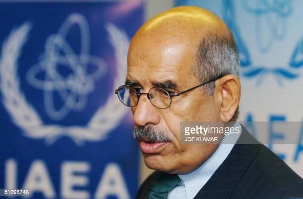 Nuclear watchdog General Director Mohammed ElBaradei speaks to journalists shortly after the IAEA board of governors meeting in Vienna, 13 September...