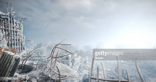 nuclear winter urban landscape - war stock pictures, royalty-free photos & images