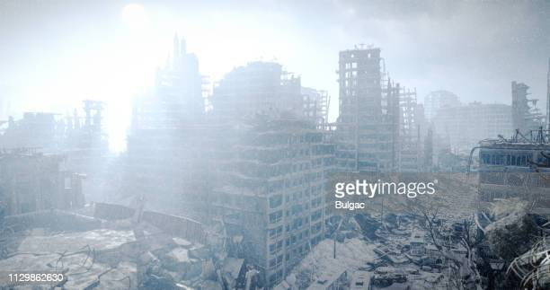 nuclear winter urban landscape - nuclear fallout stock pictures, royalty-free photos & images