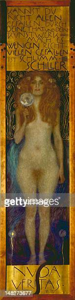 Nuda Veritas by Gustav Klimt oil on canvas 252x56 cm Vienna Österreichische Nationalbibliothek