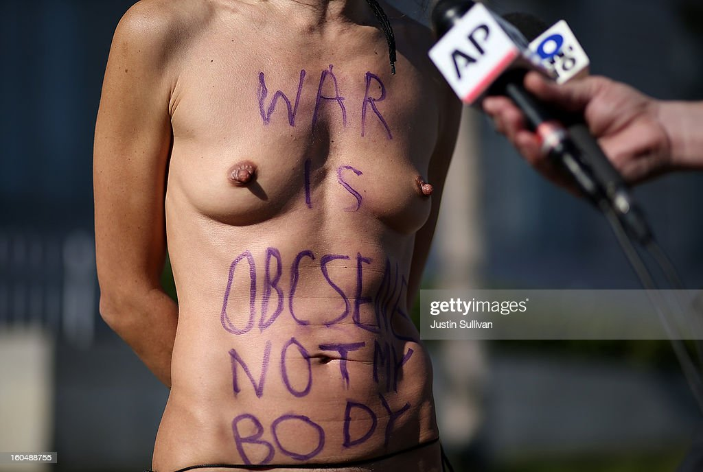 Nude activist Gypsy Taub speaks to reporters as she protests San Francisco's new ban on nudity at San Francisco City Hall on February 1, 2013 in San Francisco, California. At least four nude activists were arrested as they protested San Francisco's new ban on nudity in public places. The measure proposed by Supervisor Scott Wiener is being challenged by activists who call the ordinance unfair because it grants exceptions for nudity at permitted public events.