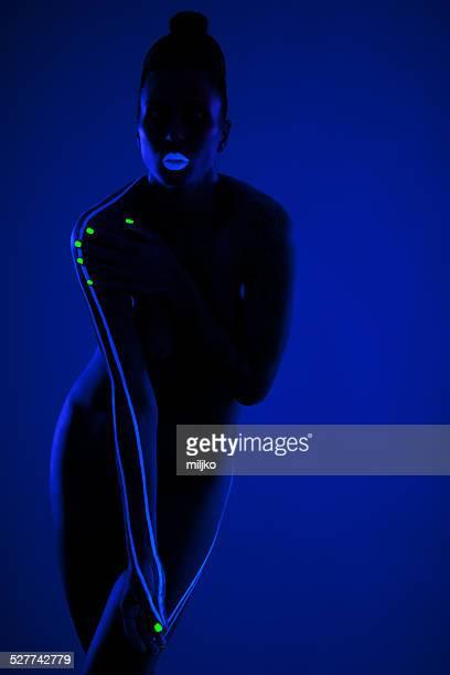 Nude art Foto mit UV-Licht