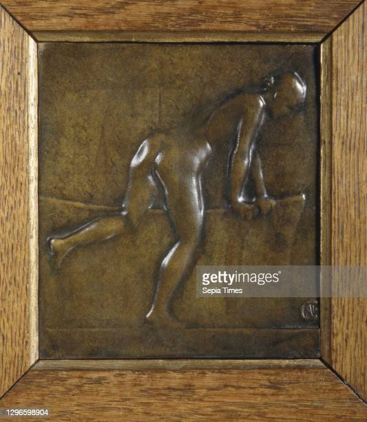 Nude at the Bathtub, ca. 1890-1900, French, Bronze, wood frame, 5 15/16 x 5 5/16 in. , Medals and Plaquettes, Alexandre-Louis-Marie Charpentier ,...