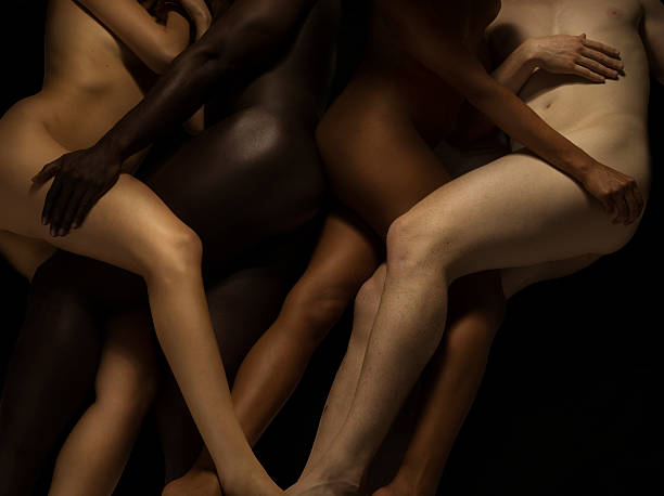 Nude Bodies In Different Skin Colours Entwined Wall Art