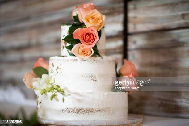 nude cake with roses - wedding cake foto e immagini stock