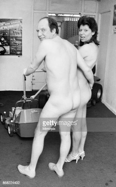 Nude couple celebrate their lawn mower win 20th April 1985