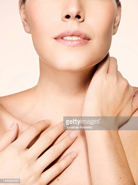 nude female beauty, head and shoulders, close up - beautiful bare breasted women stock pictures, royalty-free photos & images