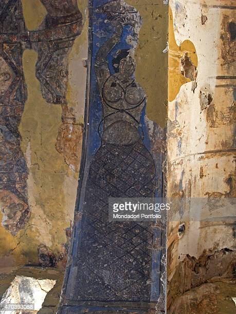 Nude female dancer 711743 8th Century AD fresco Jordan Zarqa Governorate Detail Particular of a barebreasted women dancing on the arch of the...