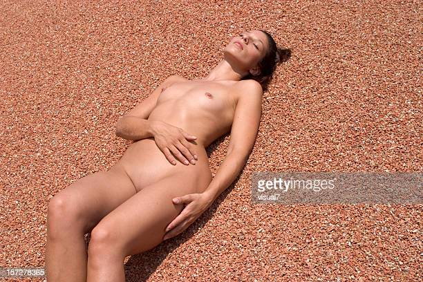 nude girl enjoying sun - naturism stock photos and pictures
