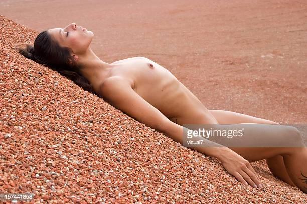 nude girl enjoying sun