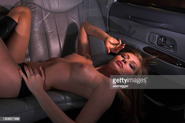 nude in the limousine, night drive in a stretched limousine - fanny pic fotografías e imágenes de stock