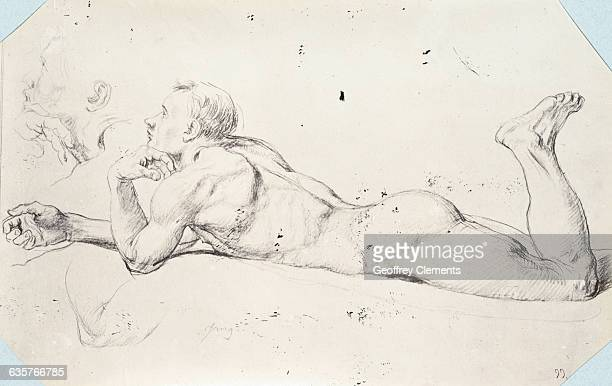 Nude Male Figure Study from Sketchbook of Jean Auguste Dominique Ingres