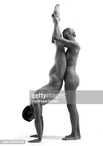 nude men hand stands