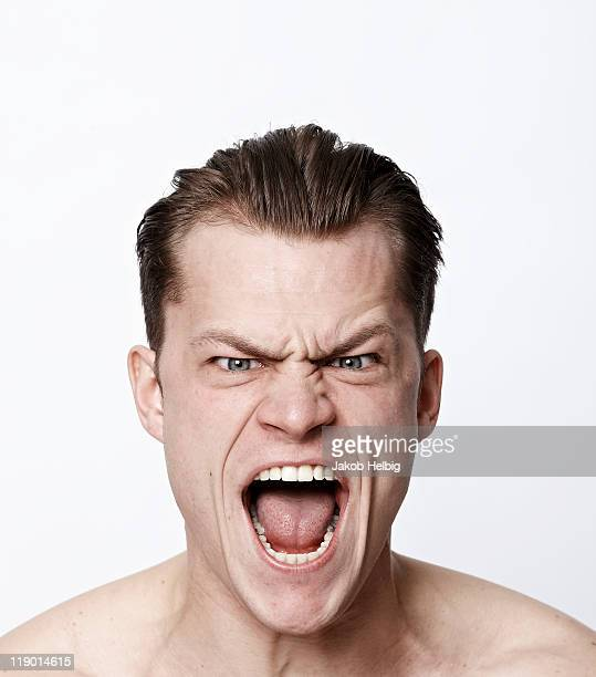 nude man making a funny face - shouting stock photos and pictures