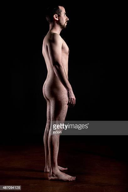 nude man, side view - chico desnudo cuerpo entero fotografías e imágenes de stock