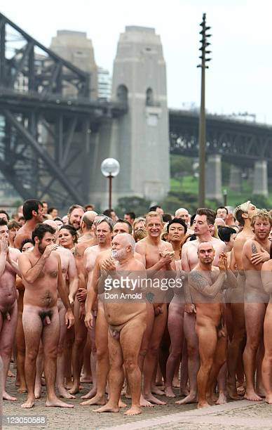 Image contains nudity Nude members of the public take part in 'Mardi Gras The Base' an art installation by artist Spencer Tunick at the Sydney Opera...