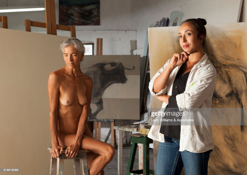 Nude Older Woman Modeling For Artist In Studio Stock Photo -5837