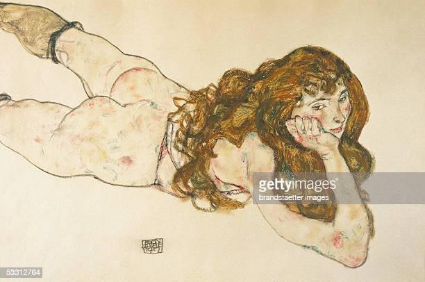 Nude on her stomach by Egon Schiele D1951 1917 [Am Bauch liegender weiblicher Akt von Egon Schiele D1951 1917]