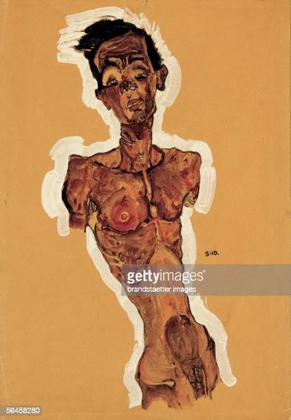 Nude self portrait waterpaint Around 1910 [Selbstbidlnis als Akt D708 Aquarell 1910]