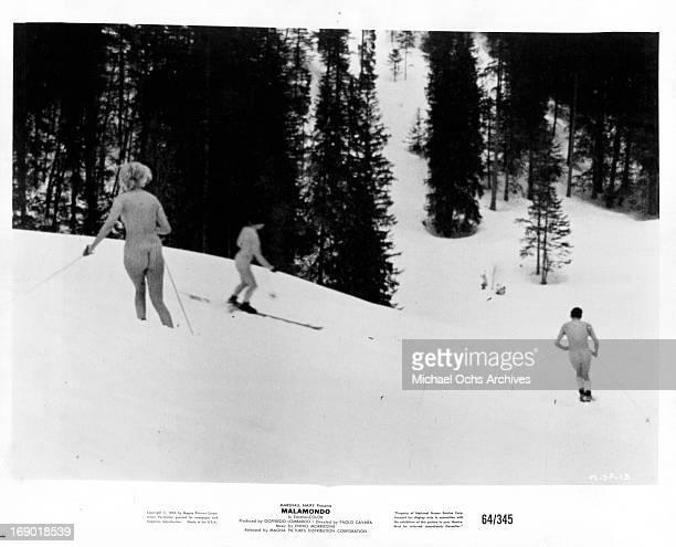 Nude skiers in Switzerland in a scene from the film 'Malamondo' 1964