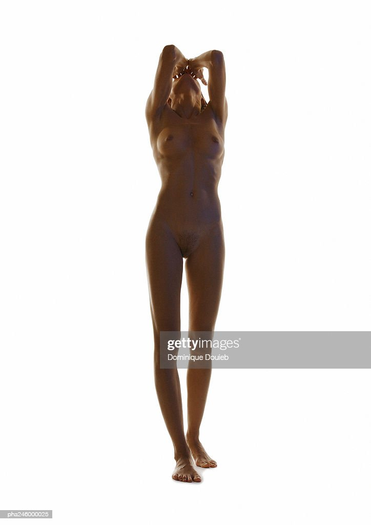 Nude woman, hands on head : Stockfoto