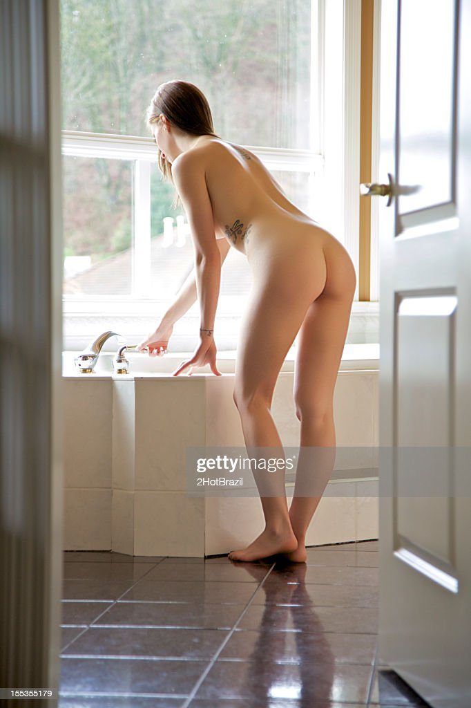 Nude Woman In Bathroom Preparing For Bath Stock Photo -2231