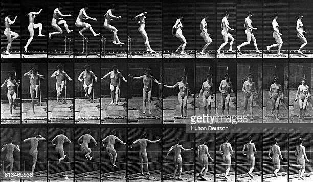 A nude woman jumps a hurdle in a series of photographs depicting motion from a variety of angles