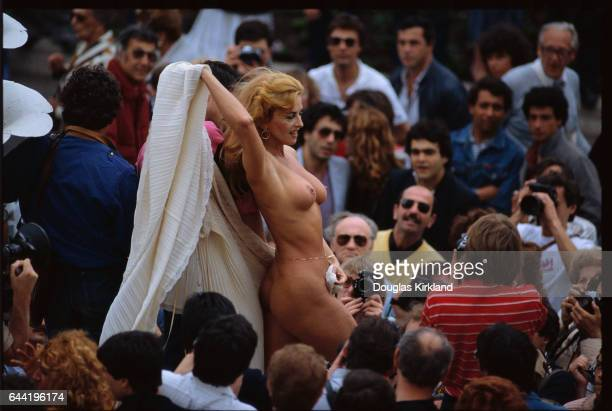 Nude Woman Modeling at Cannes Film Festival