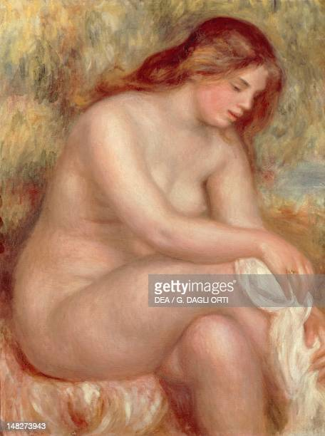 Nude woman seated or Seated Bather Drying her right leg by PierreAuguste Renoir oil on canvas 84x65 cm San Paolo Museu De Arte De Sao Paulo