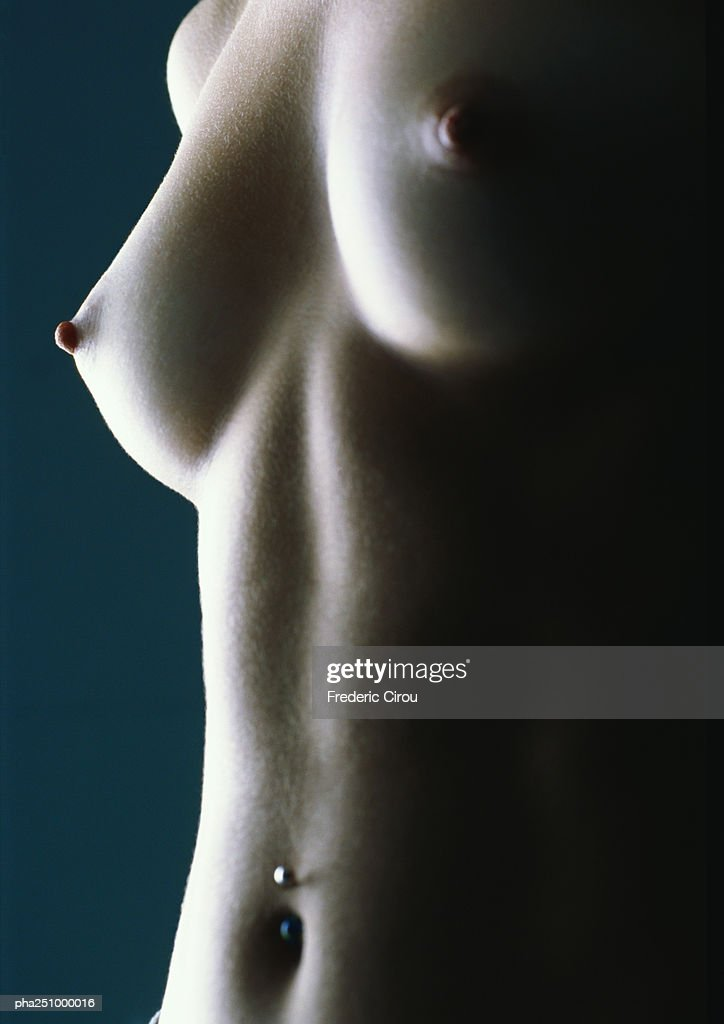 Nude woman's breast, close-up, low angle view : Stockfoto