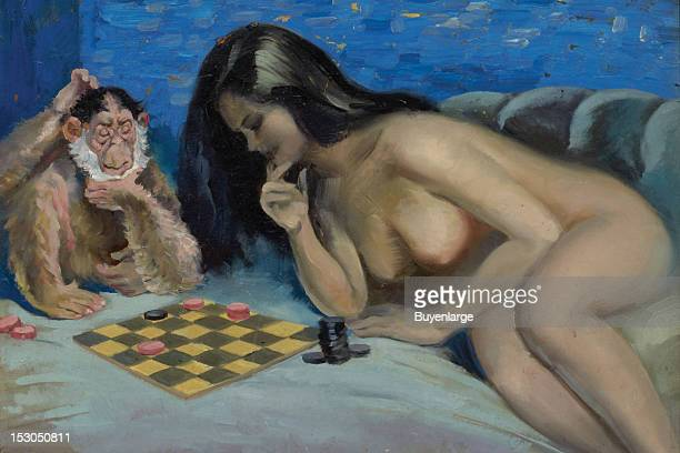 Nude young woman with bare breasts plays checkers with a monkey late 1940s By Peter Driben